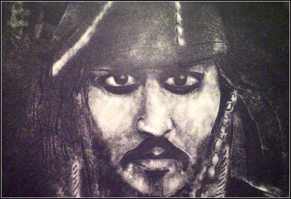 Портрет Джека Воробья из морской соли