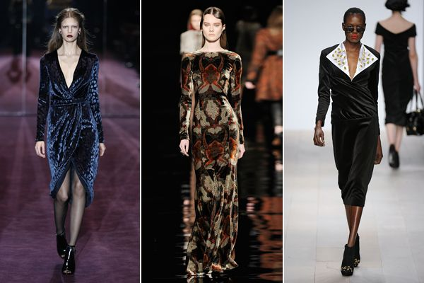 Velvet Dresses — Sumptuous velvet frocks graced ever-so-many runways in body-hugging silhouettes (Fall '12 Runway)