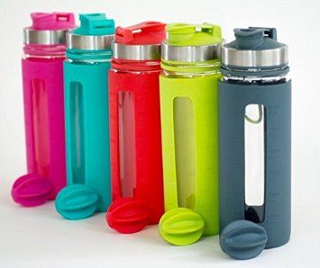 Pro Blend Glass Protein Shaker And Water Bottle 4mm Thick Glass BPA Free Blender Included With Carabiner Leak Proof Lid With Silicone Sleeve