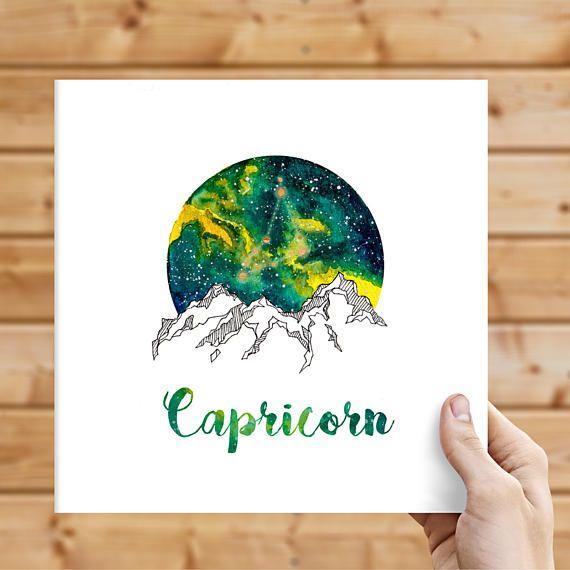 Capricorn Zodiac Watercolour Painting