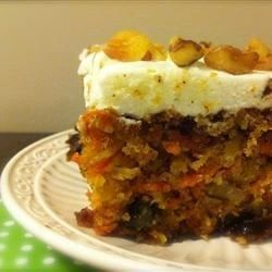 Moist Carrot Cake - Allrecipes.com but use half oil & half applesauce otherwise this cake is very oily