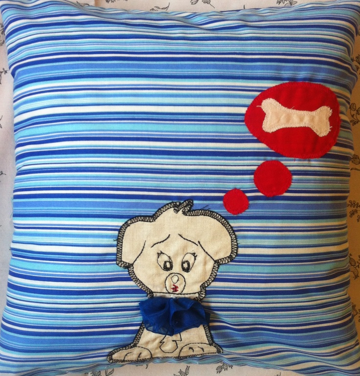 Happy pillow- Happy Dog- handmade pillow  35x35 cm  Order at: happy_pillows@yahoo.com