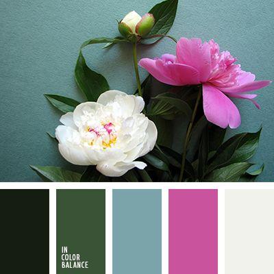 грязный белый, зеленый, насыщенный зеленый, насыщенный розовый, оттенки зеленого, розовый, сине-зеленый, тёмно-зелёный, цвет белых пионов, цвет маджента, цвет морской волны, цвет розовых пионов, цвет фуксии, цвета пионов.