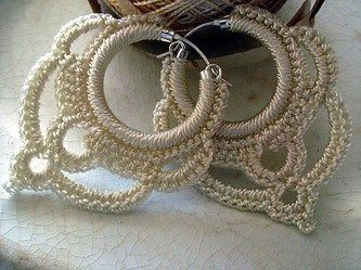 Beautiful Crochet ** Earrings ** With Special Thanks to a free pattern by M.D.E