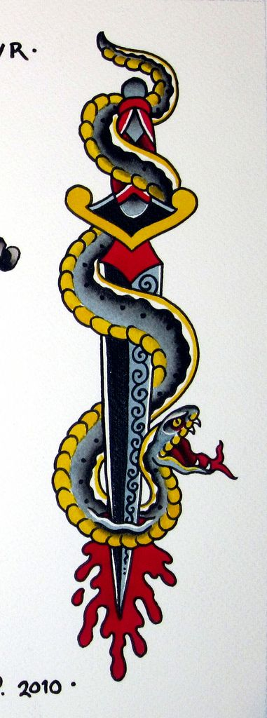 dagger with snake tattoo - Google Search