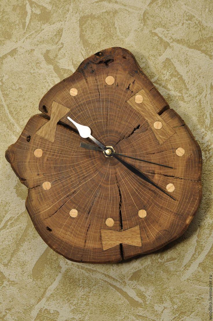 Купить Часы настенные, дубовый спил, ручная работа. - дубовый, дубовые, часы настенные