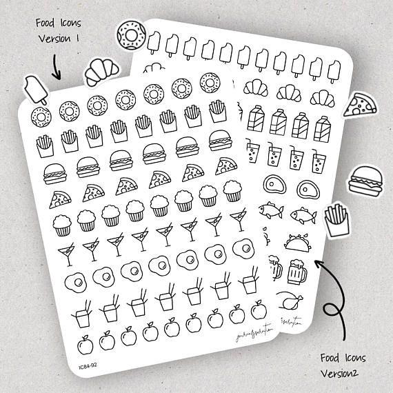 Voedsel Stickers pictogrammen van de voedsel