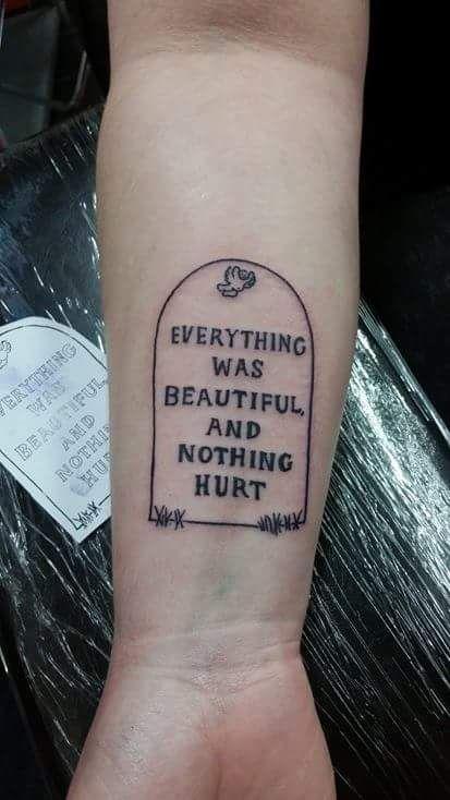 Kurt Vonnegut tattoo by Jeff Jackopin at Atomic in Wauwatosa WI