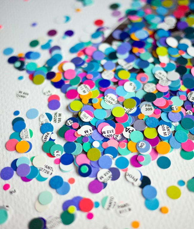 use your outdated Pantone books to create confetti... this could be fun for a party or retreat...