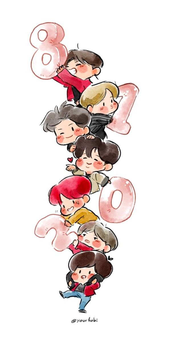 Yourhobi on Twitter drew this lovely welcome to 2018 BTS fanart! So talented