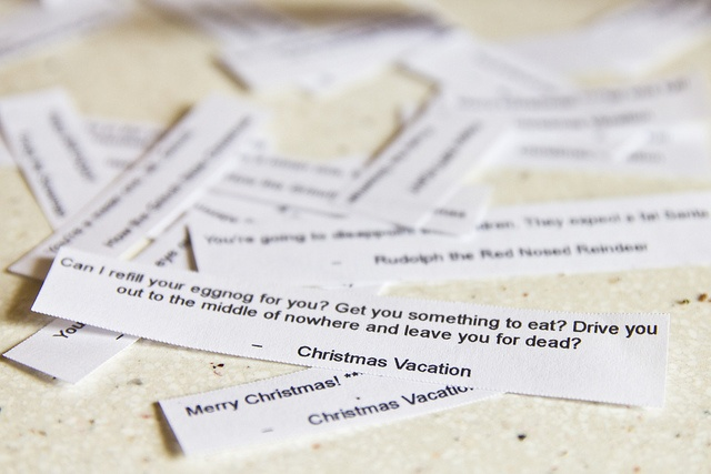 Fortune cookies with quotes from Christmas movies.  Brilliant