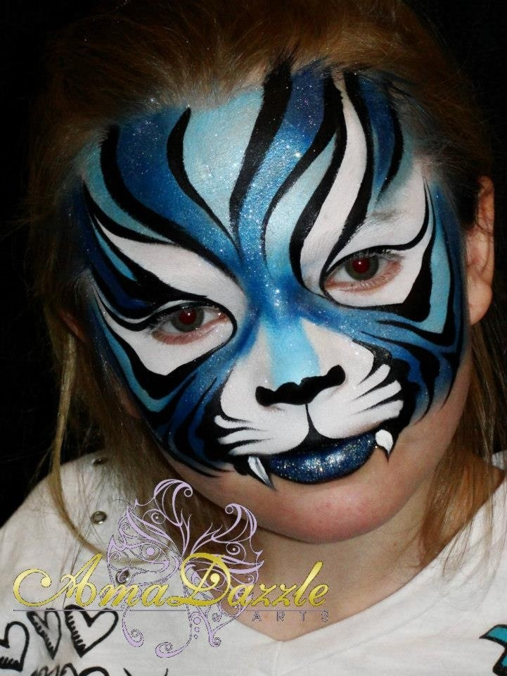 AmaDazzle Arts (Christina Kerr Davison) - Blue tiger, looooove the colors and the lines!
