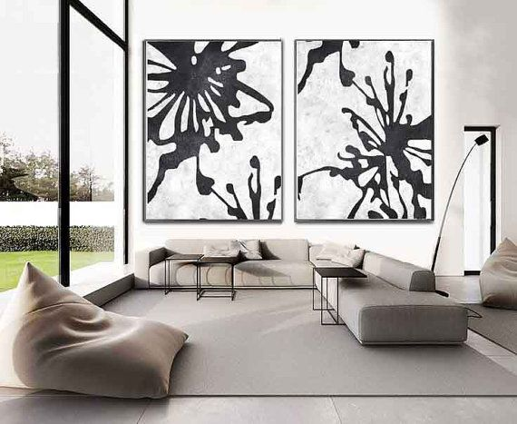 set of 2 minimalist art on canvas hand painted black and white flower painting from - Wall Modern Design