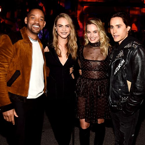 Cara Delevingne, Will Smith, Margot Robbie and Jared Leto at the 2016 MTV Movie Awards in Burbank, CA, April 9th, 2016.