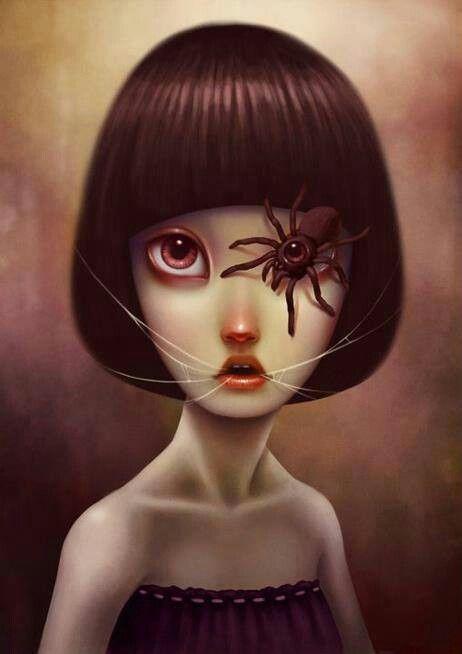 Black Widow Pop Surreal Painting