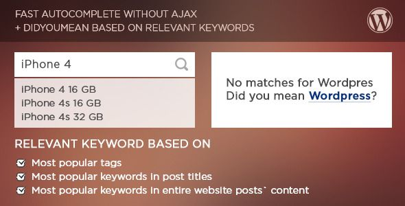 Easy DidYouMean Autocomplete  Search Wordpress Plugin