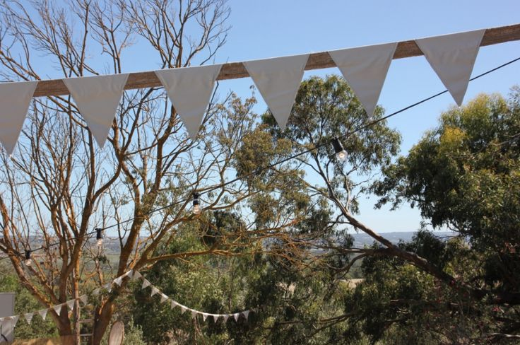 Country outdoor wedding inspiration in the gum trees bunting for hire @fireflyworkshop