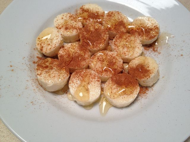 Craving dessert? chop up a banana, sprinkle cinnamon on it, and drizzled it with honey. This is so, so good and really tastes like dessert. and Healthy!
