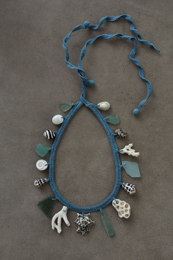 Coral, shell and glass necklace with indigo dye cotton yarn