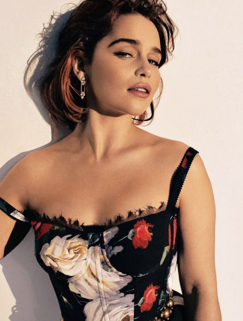 Emilia Clarke in Dolce & Gabbana photographed by Alexi Lubomirski for ELLE, August 2017.