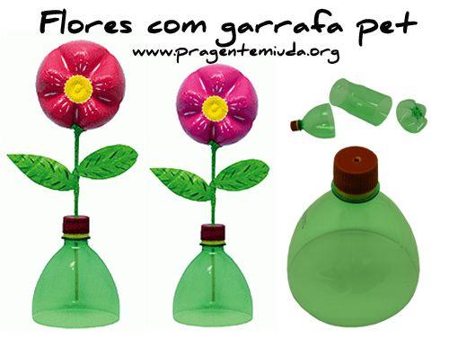 lembrancinha de primavera com garrafa pet para educação infantil