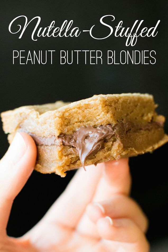 Nutella-Stuffed Peanut Butter Blondies // Double the deliciousness with this layered blondie recipe—filled with a generous layer of creamy Nutella.