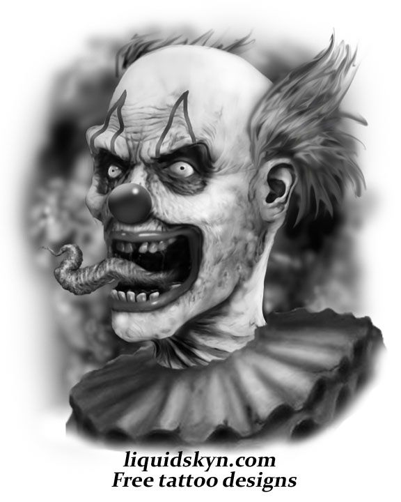 Screaming Evil Clown Tattoo Design Pictures