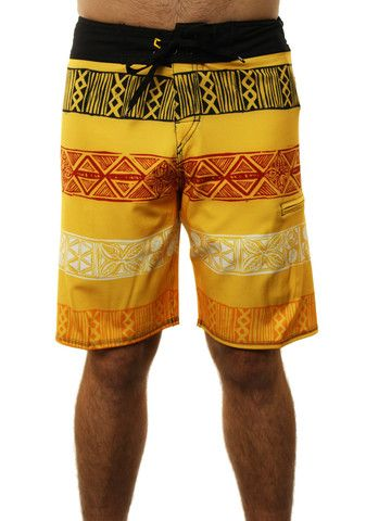 """Quiksilver Men's """"Cypher Kaha 20"""" Old World Pattern Boardshorts Yellow"""