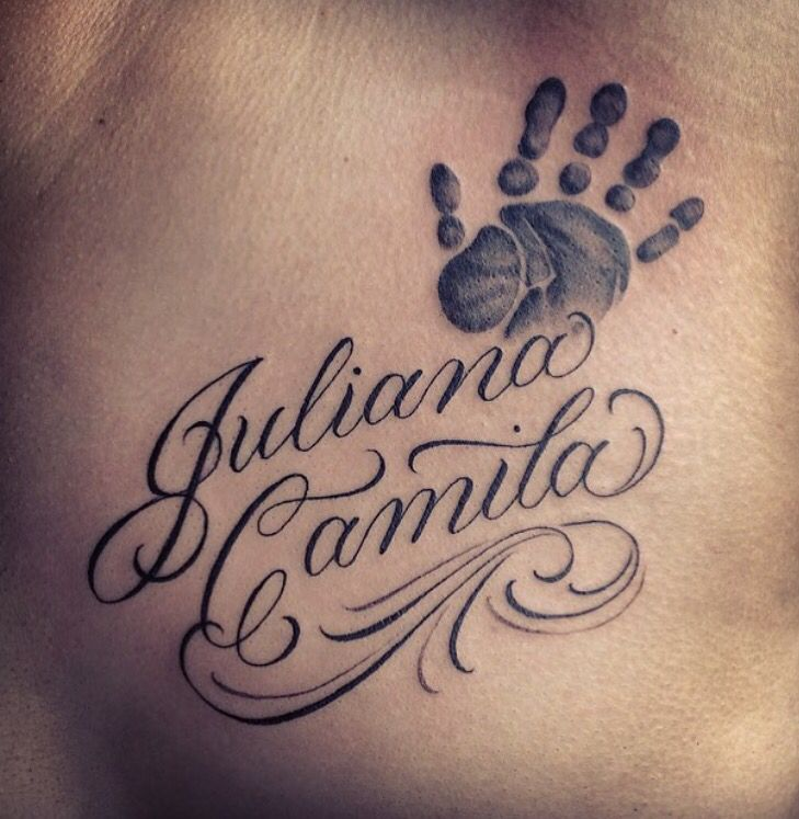 Baby handprint tattoo with name