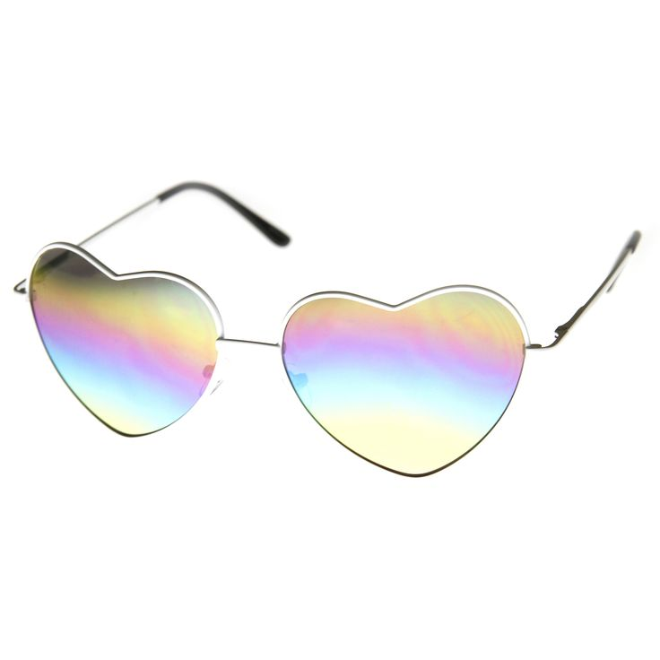 Women's Super Cute Flash Revo Lens Metal Heart Sunglasses 9482 | zeroUV
