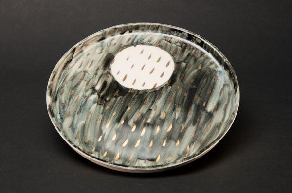 Night Rain Thrown Stoneware Plate by Alice Walton