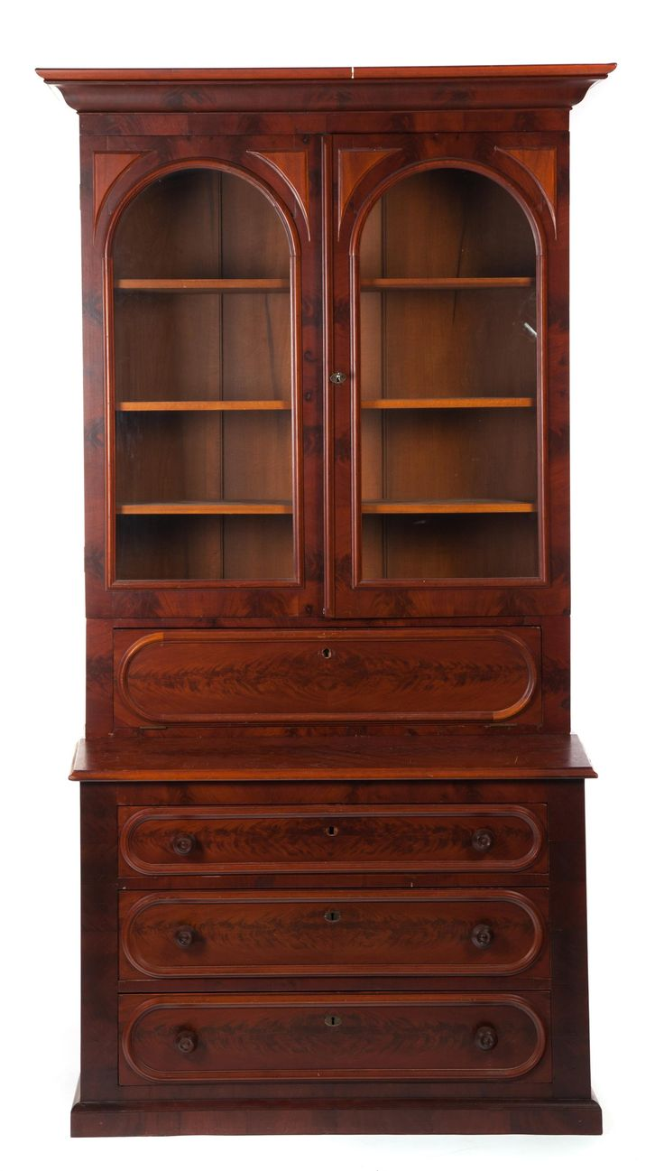 "Garths | Full Details for Lot 1024 TWO-PIECE VICTORIAN SECRETARY BOOKCASE. American, 3rd quarter-19th century, mahogany. Molded cornice, applied decoration, two arched glass doors, drop-front opening with fitted interior, three dovetailed lower drawers, and paneled sides. 89""h. 49.5""w. 22""d. Estimate $ 250-500"
