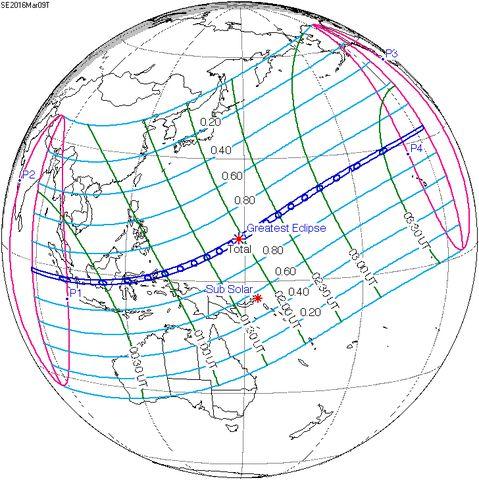 Gerhana Matahari Total 2016 - Jalur dan Jadwal Gerhana Matahari Total 2016
