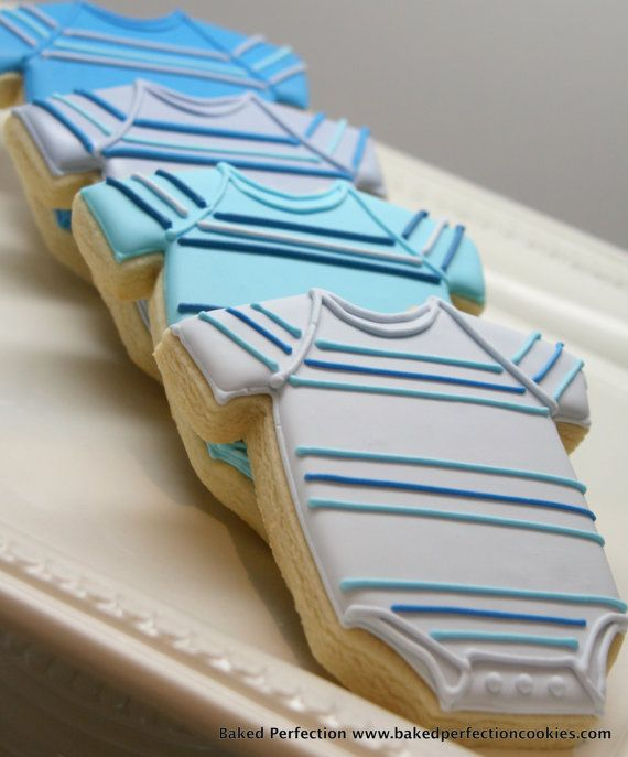 Baby Boy Blue Striped Onesie Cookies by bakedperfection, $42.00