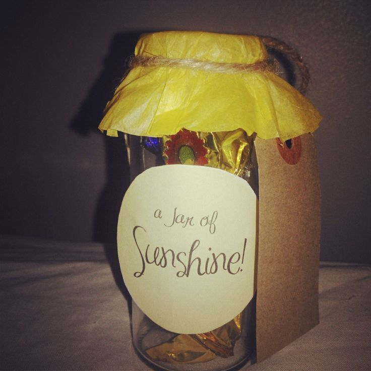 """Mini jars of sunshine guaranteed to create a smile & say """"happy days are here again, the sky is oh so clear again"""" #mini #gifts www.moonbackbaskets.co.uk/product-category/mini-jars-of-love-sunshine/"""