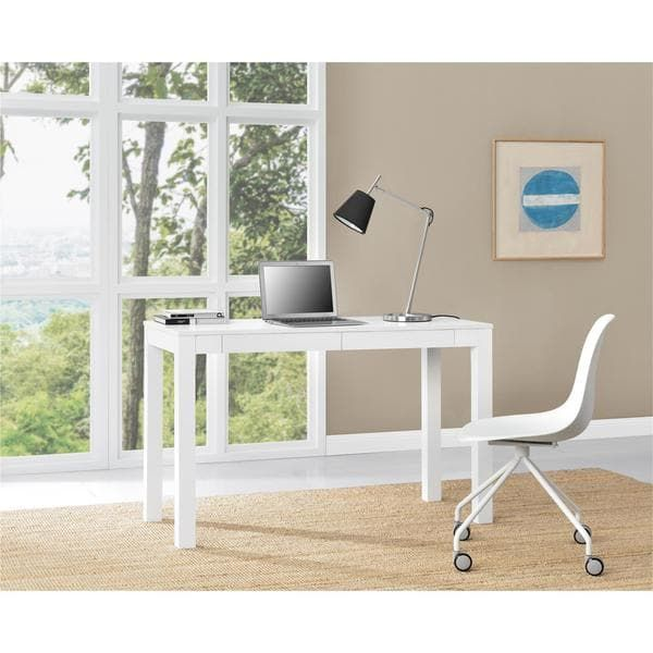 Ameriwood Home Parsons White XL Desk with 2 Drawers
