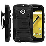Motorola Moto E 2nd Generation Case, Motorola Moto E 2nd Generation Holster, Two Layer Hybrid Armor Hard Cover with Built in Kickstand for Motorola Moto E LTE 2nd Generation XT1511, XT1257 (Boost Mobile, Cricket, Sprint, Verizon, Virgin Mobile) from MINITURTLE | Includes Screen Protector - Black