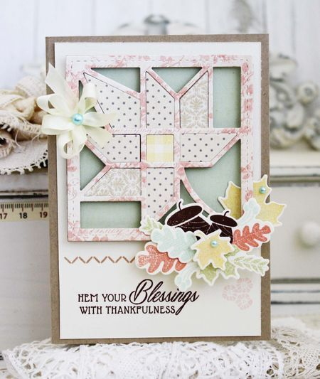 Hem Your Blessings Card by Melissa Phillips for Papertrey Ink (August 2015)