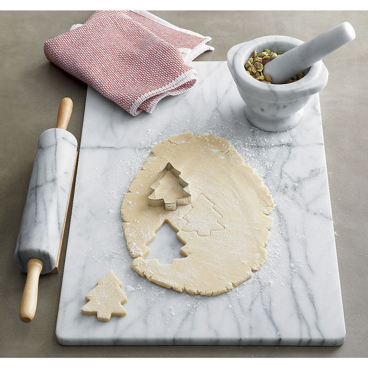 French Kitchen Marble accessories from Crate & Barrel - slab, mortar & pestle, and rolling pin