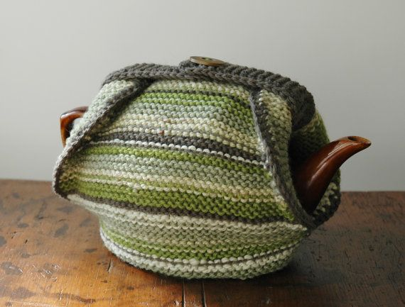 Shades of green knitted tea cosy by KororaCrafters on Etsy