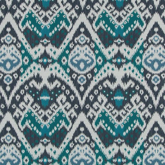 Navy Teal Upholstery Fabric Modern Blue Ikat Fabric for