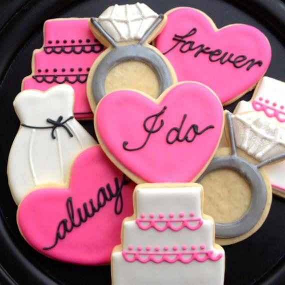 Wedding Cookies, so cute #bridalcookies
