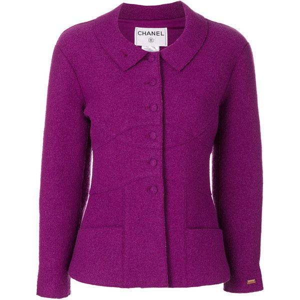 Chanel Vintage veste à encolure ronde ❤ liked on Polyvore featuring outerwear, vests, chanel, purple waistcoat, purple vest and vest waistcoat