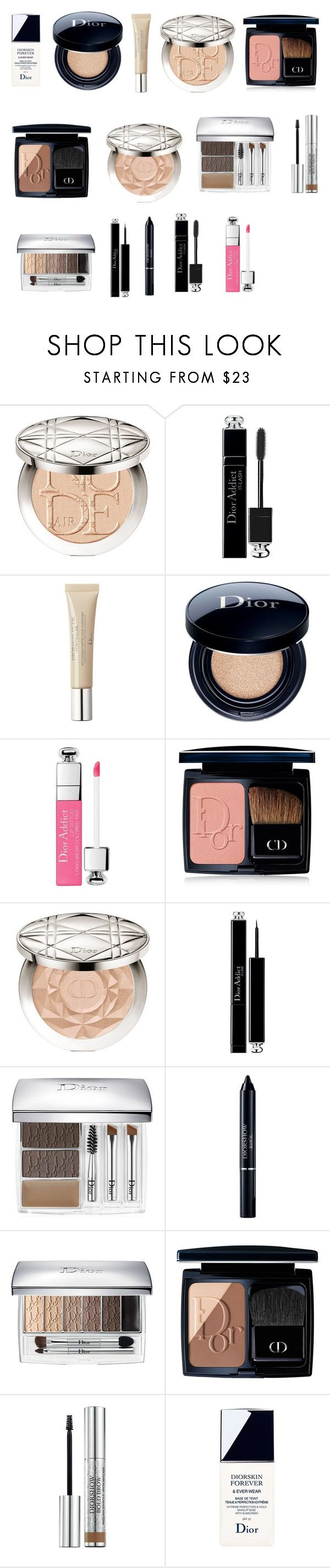 """""""Neutral warm eyes + matte bright pink lips"""" by tyronewelle ❤ liked on Polyvore featuring beauty and Christian Dior"""