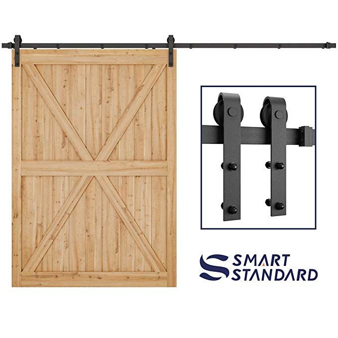 Amazon Com Smartstandard 10ft Heavy Duty Sturdy Sliding Barn Door Hardware Kit 10 Double Sliding Door Hardware Sliding Barn Door Hardware Barndoor Headboard