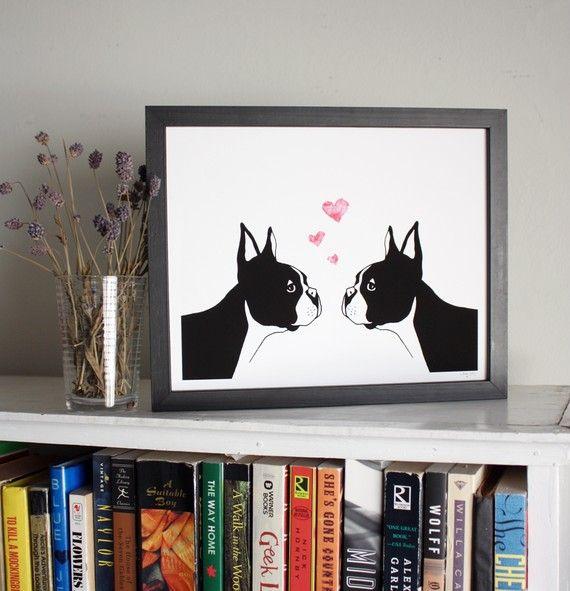 sloeginfizz via etsy: Love Art, Boston Terriers Love, Valentine Day, Art Prints, Valentines Day, Boston Terriers Art, Boston Bulldogs, Things Boston, Boston Art