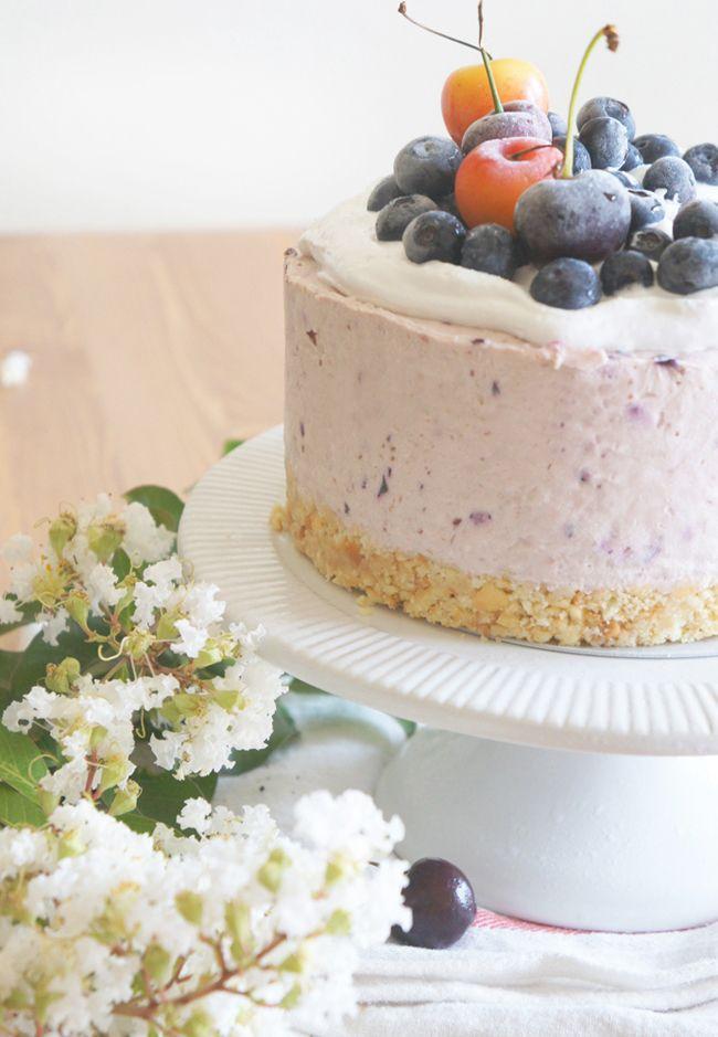 Cherry Blueberry Cheesecake via sugary & buttery