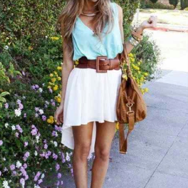 Flowy top and white hi low skirt