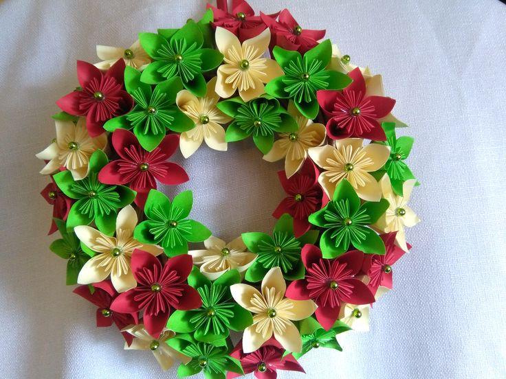 Handmade, origami kusudama paper wreath #origami #kusudama #paper #wreath #handmade