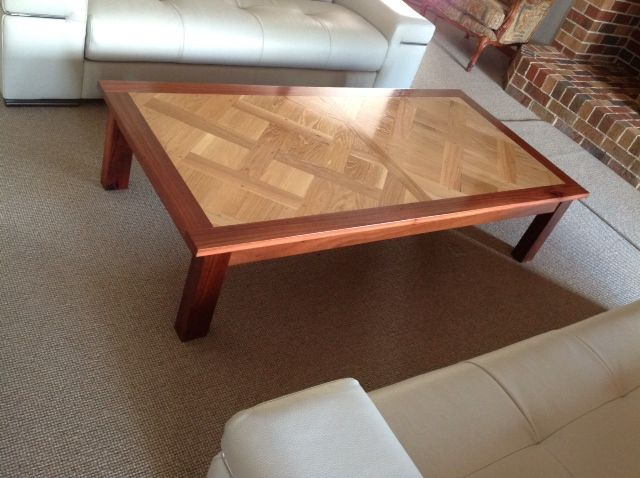 Jarrah with parquetry floor inlay coffee table